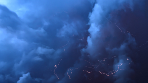 Beautiful Blue Clouds and Lightning