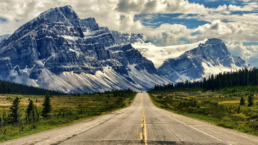 Beautiful Crystal Mountains and Road
