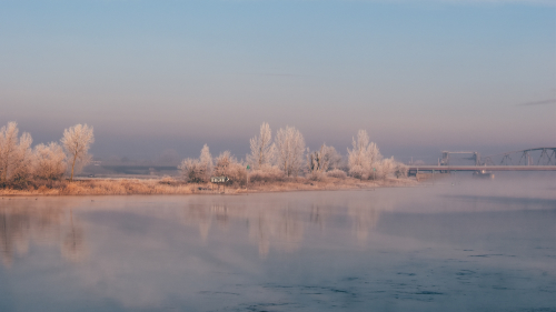 Beautiful Frozen River and Fog