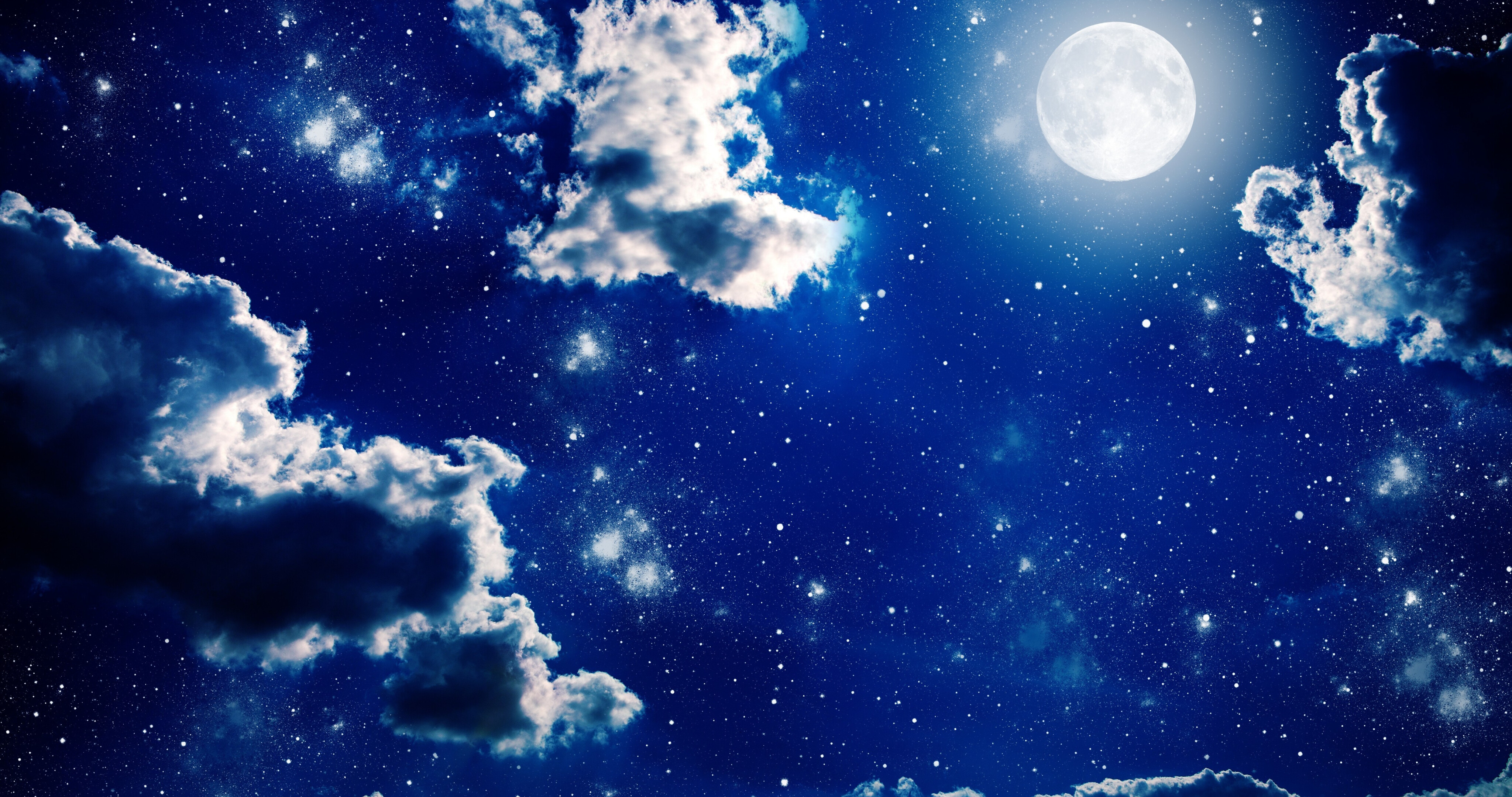 Clouds Moon and Night Stars