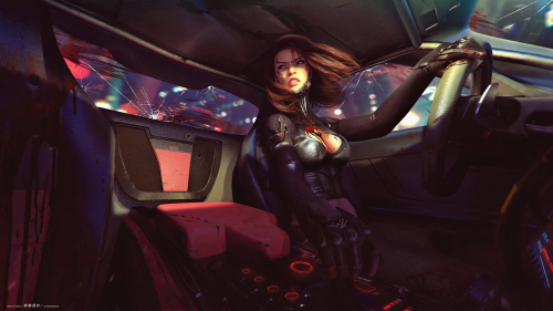 Cyberpunk 2077 Beautiful Sexy Girl with Big Tits and Blood