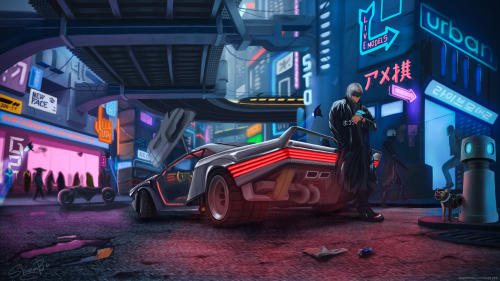 Cyberpunk 2077 Cyborg and Car Artwork