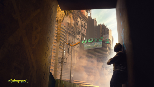 Cyberpunk 2077 Cyborg and Old Hotel