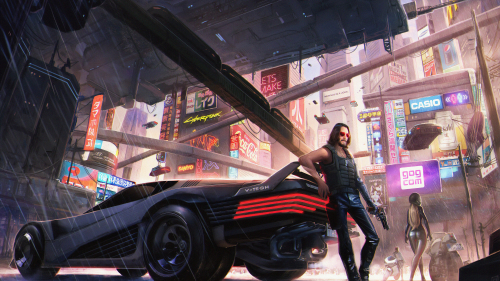 Cyberpunk 2077 Johnny Silverhand with Black Car and Gun