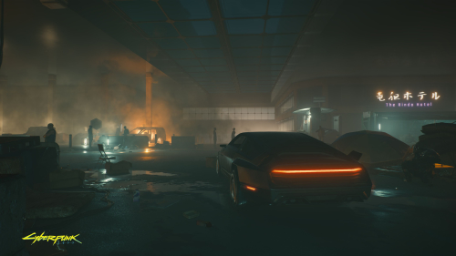 Cyberpunk 2077 Night City and Car