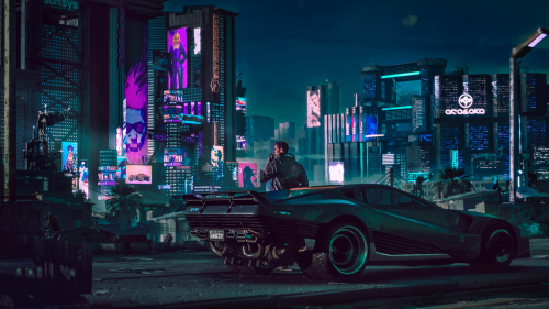 Cyberpunk 2077 View on Street and Futuristic Car