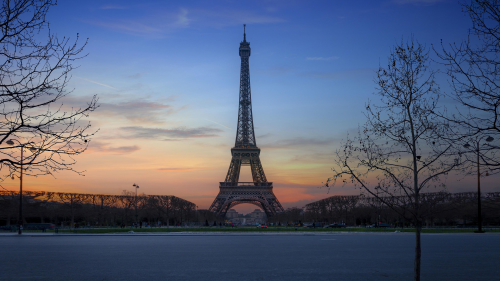 Eiffel Tower Winter and Sunset