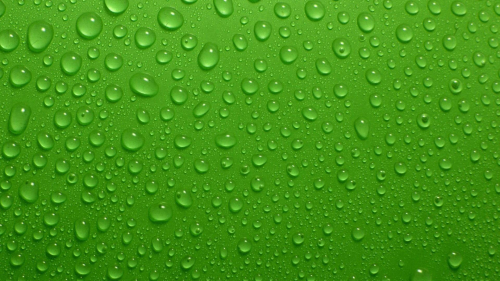 Green Surface and Water Drops
