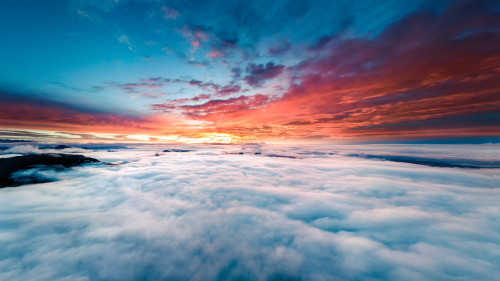 Horizon above Big Clouds and Purple Sunset