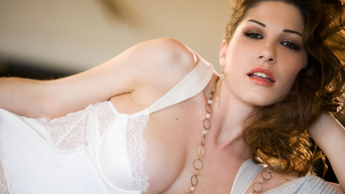 Kymberly Jane Pretty Sexy Hot Lady in White Dress