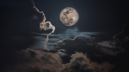 Night Sky Clouds and Moon