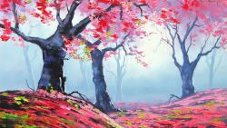 Pink Spring Forest