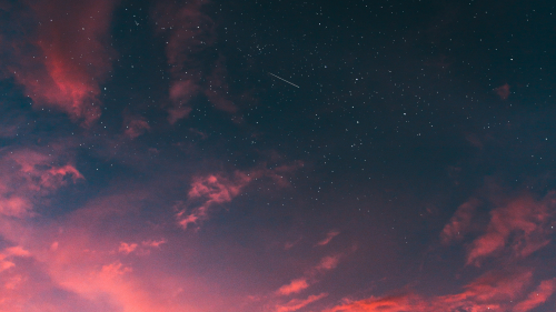 Pink Sunset and Starry Sky