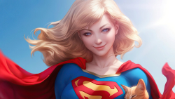 Pretty Supergirl with Cat