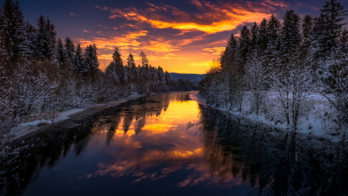 Sunset and Winter River