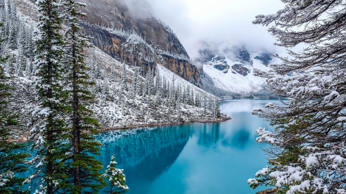 Wonderful Snowed Mountain Valley and Pure Blue River