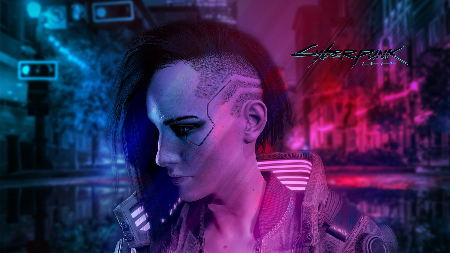 Cyberpunk 2077 Beautiful Girl and Purple Light