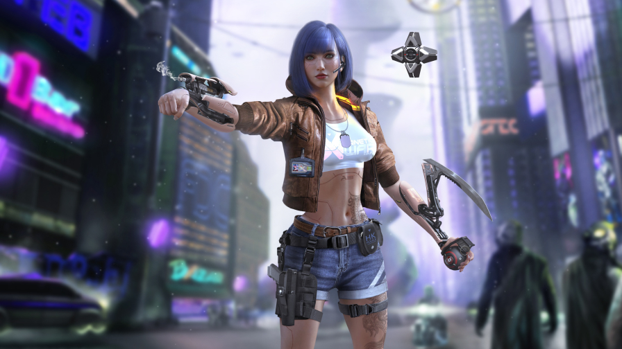 Cyberpunk 2077 Dangerous Girl on Street