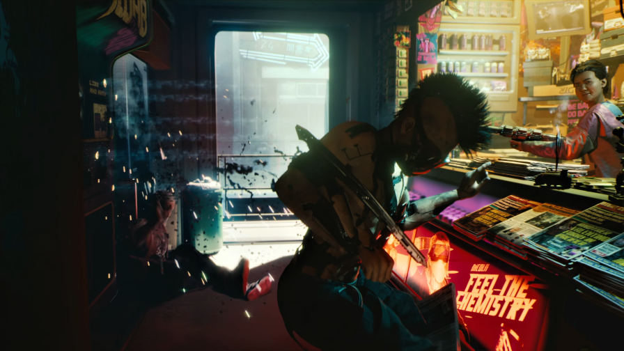 Cyberpunk 2077 Fight in Shop