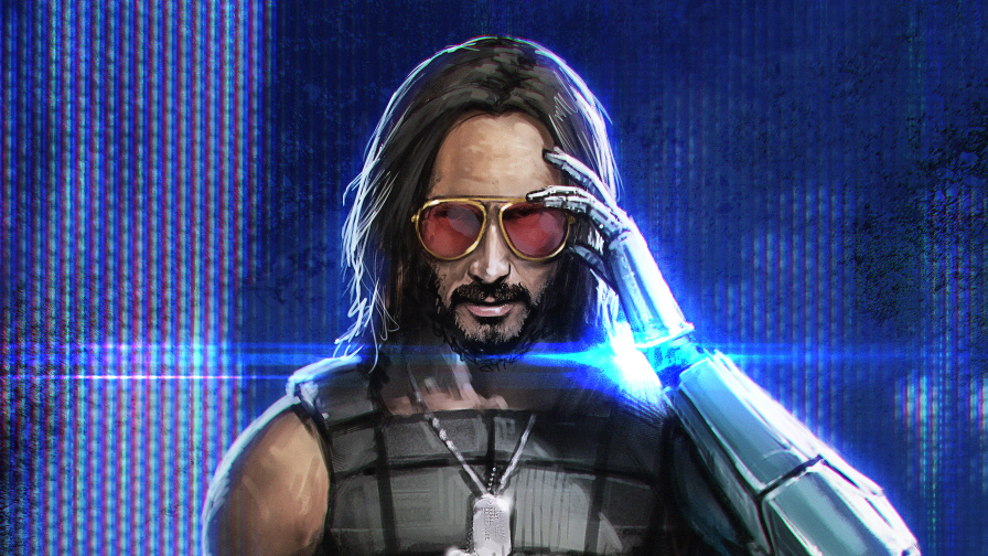 Cyberpunk 2077 Keanu Reeves with Sunglasses