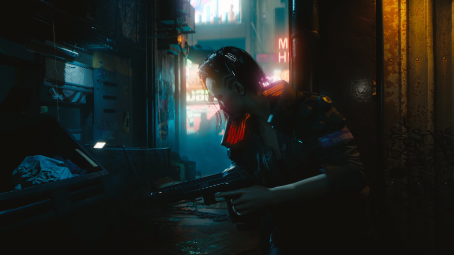 Cyberpunk 2077 Warrior Girl on Night Street