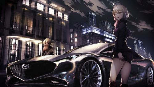 Girl with White Hair and Beautiful Car Mazda