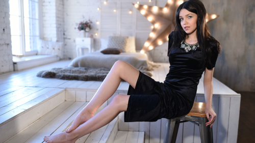 Lily Sands Sexy Teen Girl in Black Dress