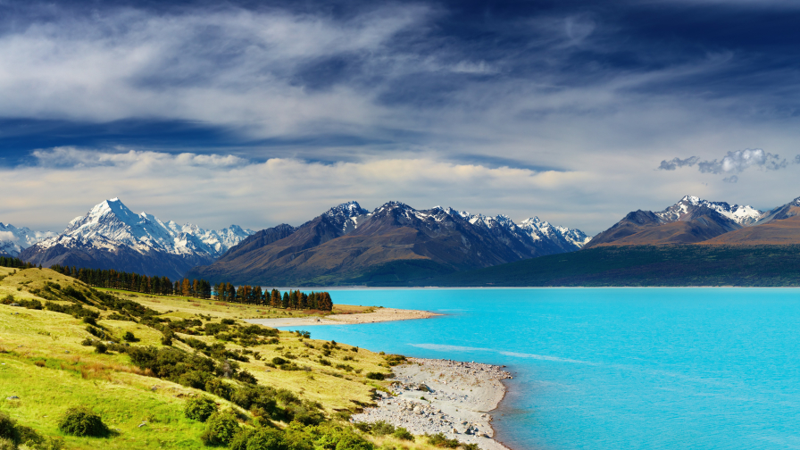 New Zealand River and Mountains Hills