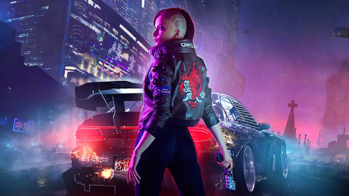 V Cyborg Girl Outdoor in Cyberpunk 2077 and Car