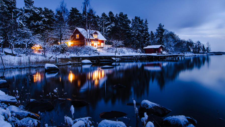 Winter Holiday Night at the Cottage in Mountain Valley